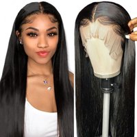 26 Inch Long Black Brown Blonde Straight Wigs Brazilian Human Hair for Black Women Heat Resistant Synthetic Lace Front Wig