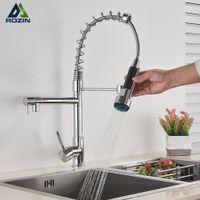 Chrome Spring Kitchen rubinetto estraibile laterale spruzzatore doppio beccuccio maniglia singola maniglia singola tap lavello 360 grado di rotazione