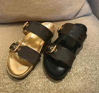 Designer frauen gleitet sandal bom di a flache maustier slip patent leinwand männer strand gummisohlen sommer flip flops mit box sizze 35-46
