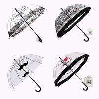 Umbrellas Transparent Little Beard Long Handle Umbrella Super Light Cartoon Lace Apollo 3D 8 Bone Semi-Automatic