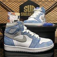 Nike Air Jordan 1 Retro Jumpman AJ 1S الرجال النساء أحذية كرة السلة Hyper Royal University الأزرق الداكن MOCHA OSPIDIAN UNC TRAFFABRATER TRAINERS أحذية رياضية chaussures مع صندوق