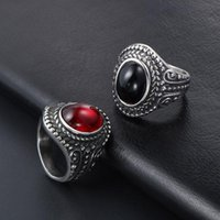 Cluster Rings Punk Mens Black Stainless Steel Gothic Evil Eye Longan Wholesale Red Big Ring Antique Male Accessories Jewelry