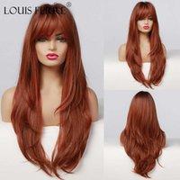 Rouge brun perruque marron foncé Faux cheveux longs longs perruques ondulées bouclées avec franges perruques de fête synthétique