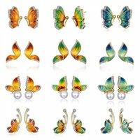 Stud Creative Butterfly Shape Earrings For Women Golden Enamel Crystal Pearl Wedding Jewelry Anniversary Gifts
