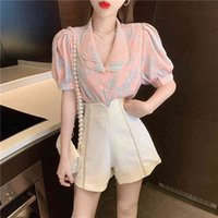Women's Tracksuits Pink floral shirt ensemble, chiffon with puffing sleeve and double lapel, summer , elegant temperament for women, set of IAB8