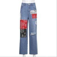 Women's Jeans Korean Version Women Girl High Waist Patch Designs Borken Hole Straight Type Burrs Hip Hop Punk Style Blue Cowboy Pants