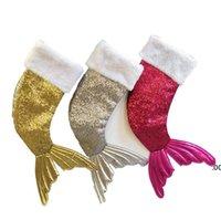 Pullu Mermaid Kuyruk Noel Çorap Hediye Wrap Çocuklar Şeker Çanta Noel Ağacı Süs Ev Parti Süslemeleri Büyük Boyutu RRF8796