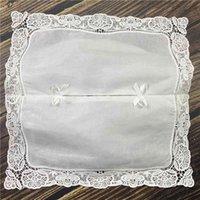 Ensemble de 4 couvercles de boîte de tissus de mode avec dentelle au crochet brodé / blanc 100% coton tissu blanc propre