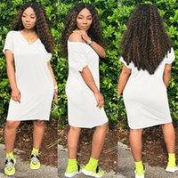 Women's summer dresses Casual T Shirt Dress V-Neck Short Sleeve Mid-Length Dress Pockets Harajuku Base White Pullover Clothing35