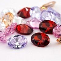 Andere Jiangyuan Gesamt 25 stücke Zirkonia Perlen Mix 5 Farben 5 stücke pro Farbe oval 3x5mm-10x12mm Weißfarbener Kubik