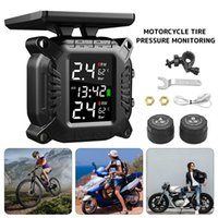 TPMS Motorcycles Tyre Pressure Monitoring System with 2 Sensors LCD Display Auto Alarm System Wireless Solar Real-time Tester
