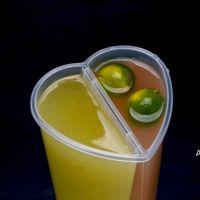 600ml herzförmige Getränke doppelenteiltasse transparente kunststoff wegwerfbare Tassen mit Deckel HWD6898