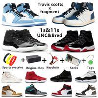 Air Jordan Retro Jumpman 1s Herren Basketballschuhe Travis Scott Splitter Dark Mocha 1 Fearless University Blue Toe 11 Concord 11s Männer Frauen Trainer Sport Turnschuhe mit Box