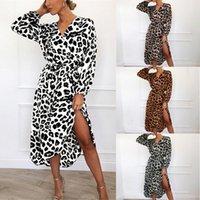 Abiti casual BHDD Sexy Cheetah Leopard Stampa Stampa Midi Dress Delle Donne Vestiti Plus Size Vestido Elegante Lantern Sleeve Bodycon Night Club