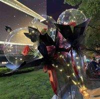 الأزياء الصمام مضيئة بالون باقة شفافة فقاعة روز عباد الشمس زنبق مع عصا led بوبو الكرة عيد الحب هدايا الزفاف حزب ديكور g50kuva