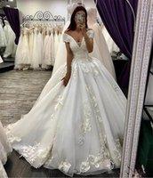 2020 Vintage Ball Gown Lace Appliques Wedding Dresses Lace Up Back Bridal Gowns Formal Custom Vestidos De Marriage Garden