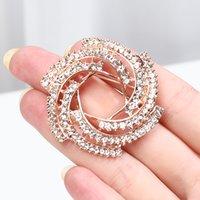 Trendy Rhinestone Flower Brooches For Women Bride Scarf Clip Sweater Brooch Coat Dress Wedding Elegant Bridal Jewelry