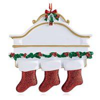 Résine Personnalisé Stocking Chaussettes Famille de 2 3 4 5 6 7 8 Ornement d'arbre de Noël Décorations créatives Creative Pendentifs GWE9738