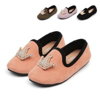 Spring Autumn Baby Girl Shoes PU Flock Fabric Princess With Crown Decoration Toddler Girls Loafers Kids Casual Flats 21-30 Sweet 1029