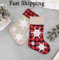 Navidad Decoración del hogar Calcetines Decorados creativamente regalos infantiles Bolsos de apple Bolsos Colgante encantador Copos de nieve Rojo y negro