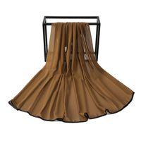 فقاعة الشيفون وشاح عادي المرأة مسلم الحجاب شال التفاف الأسود الحرير حواف الخياطة