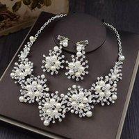 Boucles d'oreilles Collier Mariages Mariage Strass Perle Cristal Bijoux Ensemble Fleureuse Fleur de luxe + Clips Accessoires XL00188