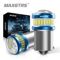Luzes de emergência 2x Ba15s P21W Lâmpadas LED S25 1156 7440 W21W T20 4014 3030 Lente do projetor da microplaqueta para a cauda do freio da cauda da cauda GANBUS