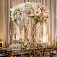 Parti Dekorasyon Gül Altın Metal Masa Centerpieces Çiçek Düğün için Düzenleme Standları