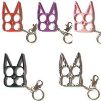 5.2 * 8,2 cm Süße Katze Keychain Kaninchenohren Selbstverteidigungswerkzeug Zwei Fingerverschluss mit Schlüsselanhänger Selbstverteidigungsbedarf im Freien Fensterbrecher