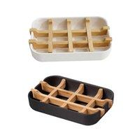 Caixa de armazenamento de sabão, banheiro Bamboo Fibra Drenagem Design destacável, fácil de limpar pratos de utensílios