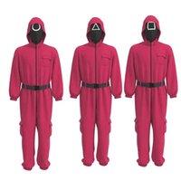 Kalamar Oyunu Kırmızı Eşofman Tek Parça Fermuar Tulum Kapşonlu Tulum Cadılar Bayramı Cosplay Kostümleri Rahat Spor Unisex Playsuit Bodysuit Giyim G09UQDM