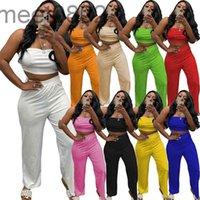 Mulheres Tracksuit Cor Sólida Pé largo Pé Alto Cintura Conjuntos de Verão Mulheres 2 Pcs Tubo Top Suits Designer Sexy Womens Two Parte Calças