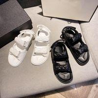 2021 lüksKristal Buzağı Deri Kapitone Platformu Lady Rahat Sandalet Siyah Ayakkabı Tasarımcısı Kadınlar Düz Sandalet 35-40 Kutusu