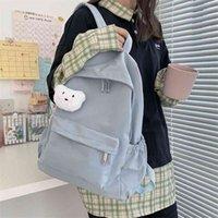 HOCODO Simple Solid Color Female Backpack Trend Waterproof Nylon Women Backpack Casual School Bag For Teenage Girls Shoulder Bag 210925