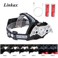 High Power Headlampe Lampe Frontale 7 * XML-T6 LED + 2 * XPE USB Ladewasserdichte Kopfbrenner Fahrrad Scheinwerfer Scheinwerfer