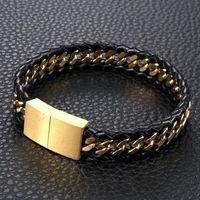 Link, Chain Hip Hop Golden Stainless Steel Cuban Link Men's Bracelet Male Jewelry With Black PU Leather Weaved Bracelets & Banlge