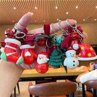 الكرتون الراتنج عيد الميلاد حلقة رئيسية سحر سانتا كلوز عيد الميلاد شجرة تخزين هدية جورب قفازات قبعة ثلج المفاتيح مفتاح دائرة معدنية مع جرس الشريط القوس g809x6e