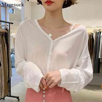 Arrival V-Neck Long Sleeve White Blouse Femme Cardigan SexyTop Women Off Shoulder Button Cotton Loose Shirts For 12187 210430