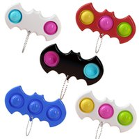 Push Bubble Keychain Toys Stress Reliever Fidget Pop Simple Dimple Key Holder Ring Sensory Squeeze Finger Novel Game Pendants Board Decompression Toy