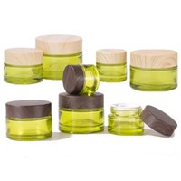 Empty Olive Green Glass Cosmetic Jars Makeup Sample Containers Bottles with Wood grain Leakproof Plastic Lids BPA free for Lotion, Cream, Mud Mask or Wax