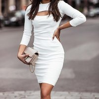 Casual Dresses Women Fashion Sexy Hollow Out Long Sleeve Bodycon Midi Dress Stretchy O-Neck Solid Color Ribbing Knitted Streetwear