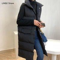 Women's Vests 2021 Autumn Winter Cotton Vest Coat Long Korean Casual Stand Collar Loose Black Sleeve Puffer Jacket Parka