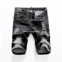 D2 New 2019 fashion casual men's jeans tear shorts jeans nightclub black DSN28 cotton fashion tight summer mens pants new fashion qDQ