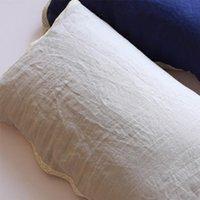 Caso de travesseiro MCAO Pure confortável confortável 100% linen fronhas naturais toalha de toalha respirável cobre bandagem fixo sanitário 1 peça TJ3978