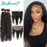 Human Hair Bulks Rosabeauty Deep Wave Bundles With 13x6 Lace Frontal Brazilian Curly Closure 30 Inch Natural Color Wavy