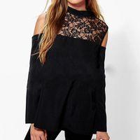 Women Blouse Sexy Patchwork Lace Crochet Shirts Long Sleeve Off Shoulder Tops Turtleneck Hollow Out Party Blusas Plus Size Women's Blouses &