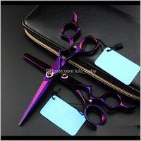 Professional Japan 440c 6-дюймовый фиолетовый GEM салон режущий парикмахерский парикмахерская стрижка утонченные ножницы парикмахерские Tyiqt anqhw