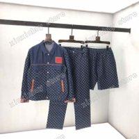 21SS Men Stampato T Shirt Paris Denim Giacca Dark Jacquard Vestiti a manica corta Camicia da uomo TAG Lettere Blue