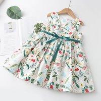 Meninas meninas vestidos casuais 2021 crianças sem mangas flor padrão arco verão chegadas crianças roupas para menina vestido menina