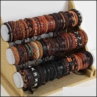 Bangle Jewelrywholesale Bk 36Pcs Lot Leather Cuff Bracelets For Mens Womens Jewelry Party Gifts Mix Styles Size Adjustable 210408 Drop Deliv
